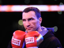 Wladimir Klitschko looks on in the ring prior to his fight against Anthony Joshua for the IBF, WBA and IBO Heavyweight World Title bout at Wembley Stadium