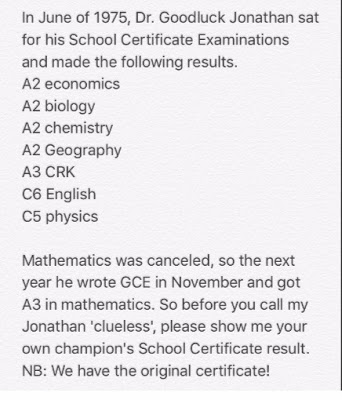 WAEC result of 'Dr. Goodluck Jonathan'