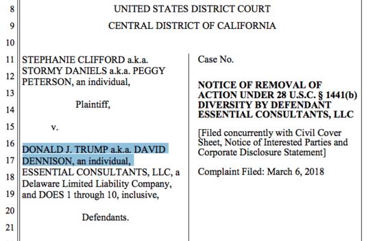 "Court filing showing the Defendant as ""Donald J. Trump a.k.a David Dennison"""